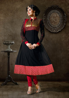 Hypnotex Georgette Black Semi Stitch dress Purvi 1144