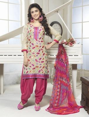 Hypnotex Cotton Cream Dress Materials  Bazzar 7354C