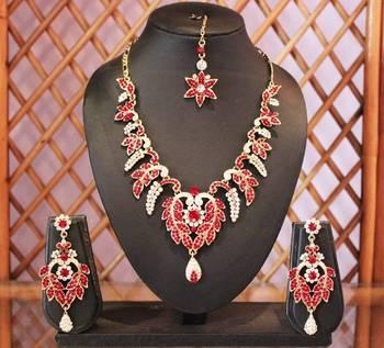 Royal Red and Silver Designer Necklace Set