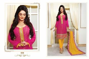 Designer Pink & Yellow Chanderi jacquard Salwar