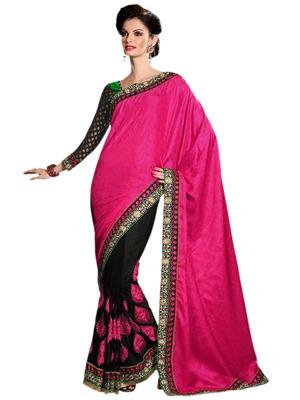 Hypnotex Pink Black Net Jute silk Saree