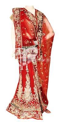 Awesome single red design work bridal lehenga