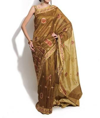 Supernet cotton embroidery banarasi saree