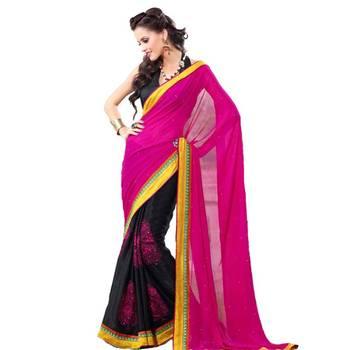 Valehri Designe Pink and Black Georgette Saree