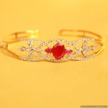 Ruby American Diamond Cuff Bracelet