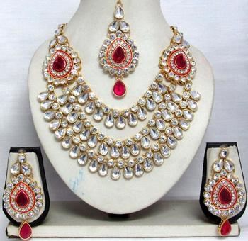 Dark Pink stone three line Wedding Necklace set