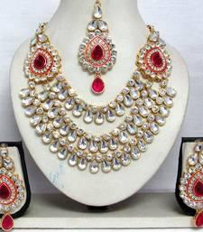 Buy Dark Pink Stone Three Line Wedding Necklace Set Online