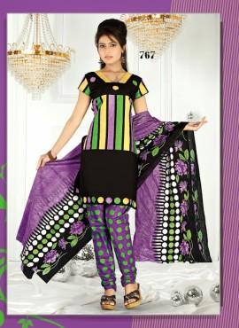 Attractive Black & Purple Cotton Printed Salwar Kameez