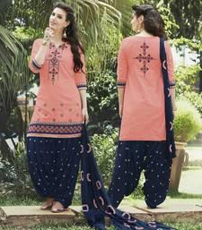 Buy Orange cotton embroidered semi stitched salwar with dupatta fashion-deal online