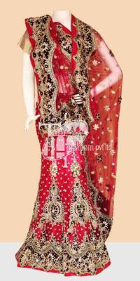 Splendid pink designer net n work bridal lehenga