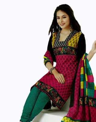 Salwar Studio Pink & Green Cotton unstitched churidar kameez with dupatta AR-1107