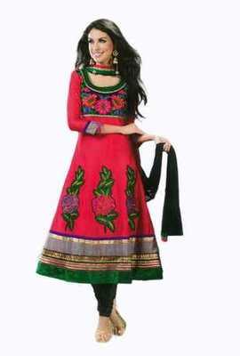 Salwar Studio Pink & Green Pure Chanderi unstitched churidar kameez with dupatta Gulnaar-24009