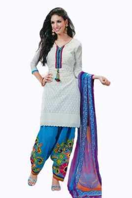 Salwar Studio White & Sky Blue Cotton Chikan unstitched churidar kameez with dupatta Mishree-23003