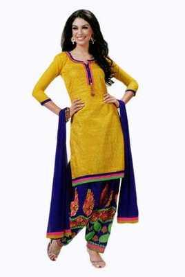 Salwar Studio Yellow & Blue Cotton Chikan unstitched churidar kameez with dupatta Mishree-23007