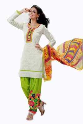 Salwar Studio White & Green Cotton Chikan unstitched churidar kameez with dupatta Mishree-23008