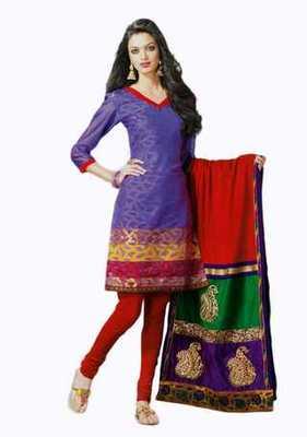 Salwar Studio Voilet & Red Banarasi Jacquard unstitched churidar kameez with dupatta Mrugnaynee-22006