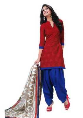 Salwar Studio Red & Blue Cotton unstitched churidar kameez with dupatta Riwaaz-27001