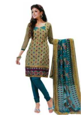 Salwar Studio Grey & Blue Cotton unstitched churidar kameez with dupatta Riwaaz-27003