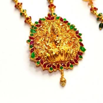 Anvi's lakshmi pendent (temple jewellery) with gundla mala