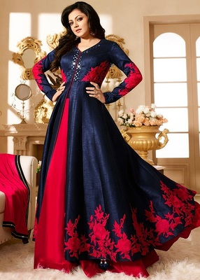 Navy Blue dupion silk embroidered semi stitched salwar with dupatta