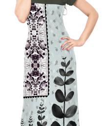 Buy Grey Color Cap sleeve and Boat Neck Faux Crepe Kurti long-kurti online