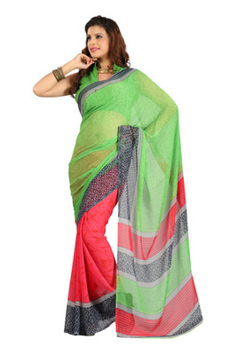 Fabdeal Green Colored Colombus Chiffon Printed Saree