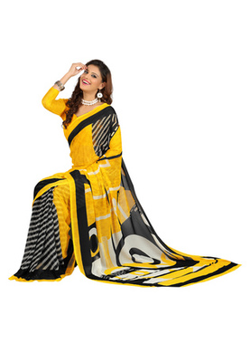 Fabdeal Yellow Colored Colombus Chiffon Printed Saree