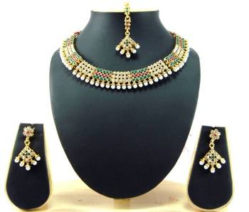 Choker style ruby emerald pearl cz gold tone bridal necklace earring set t52