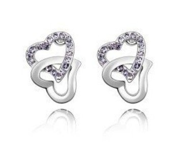 Cara sterling silver and certified Swarovski stone studded Intertwined love pure silver heart earrings for women