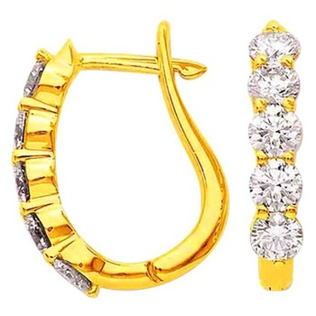 Cara sterling silver and certified Swarovski stone studded Half Circle Gold polish earrings for Women