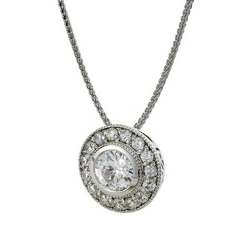 Cara sterling silver and  certified Swarovski stone Brilliant Round and stud pendant