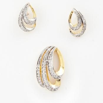 Cara sterling silver and  certified Swarovski stone Curve Studs Wave Pendant Set