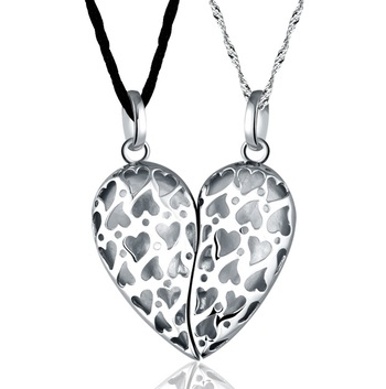 Cara sterling silver and  certified Swarovski stone You are my half Couple pendants for him and her