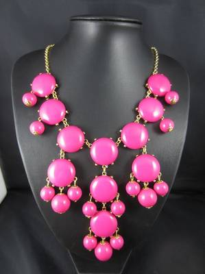 Pink Bubble Bib Necklace