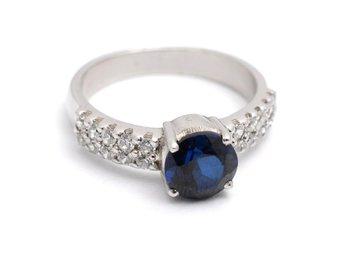 Cara sterling silver  Blue Stone and Swarovski studs Ring