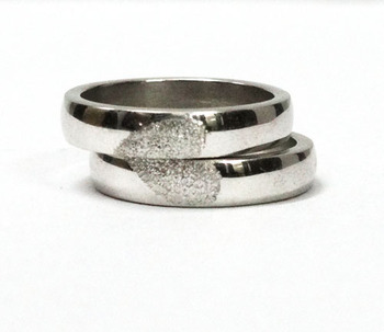 Cara sterling silver and  certified Swarovski stone Half my heart couple bands