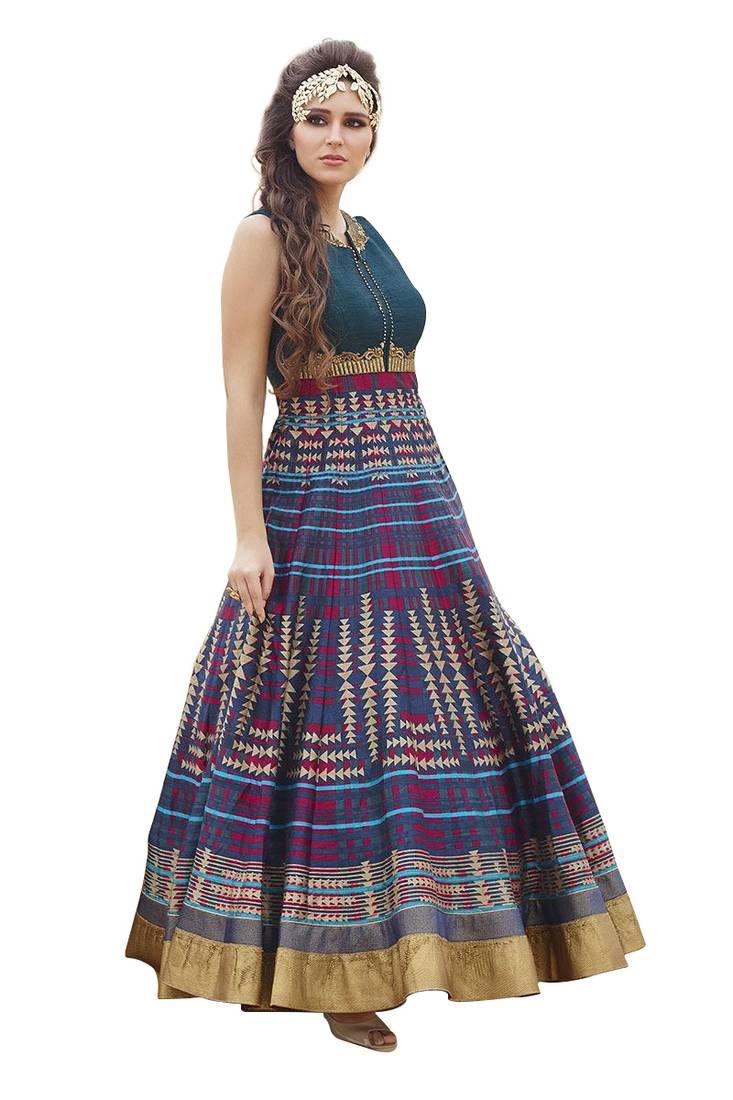 Buy Fabron Multicolor raw silk printed semi stitched indian wedding ...