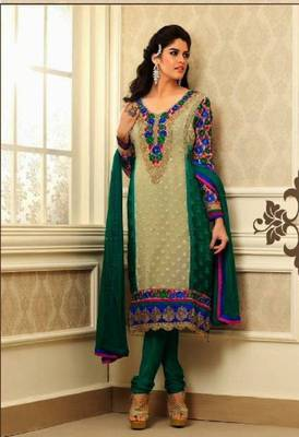 Lush Cream and Green Embroidery Salwar Kameez