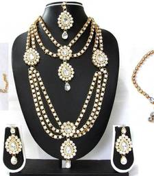 Buy White Stone kundan bridal necklace set black-friday-deal-sale online