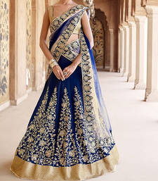 Buy dark navy blue hand woven silk saree With Blouse lehenga-saree online