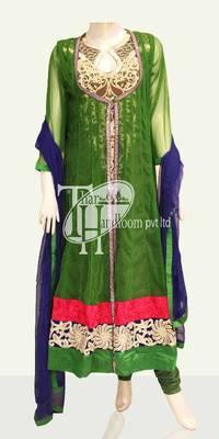 Excellent green beautiful zari work replica