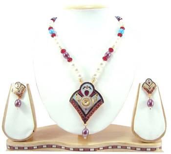 Maroon black meenakari work kundan pearl gold tone fancy necklace earring set k65