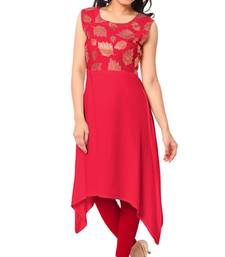 Buy Red plain faux crepe stitched kurti kurtas-and-kurti online