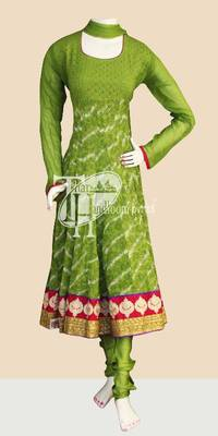 Glorious green embroidery work anarkali suit