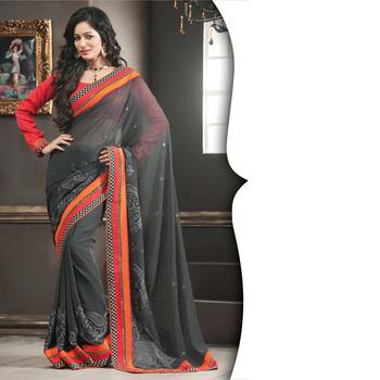Gray Designer Saree with Prints