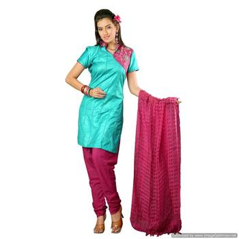 Truly Exotic Turquoise-Magenta Handloom Silk Suit With Pintucks_Ss0911