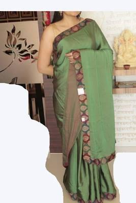 Satin Silk Green iridescent Designer Saree with Red undertone