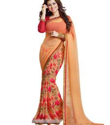 Buy orange printed georgette saree With Blouse georgette-saree online