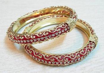 Traditional  red golden cz stud bangle