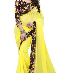 Buy Yellow plain georgette saree With Blouse georgette-saree online